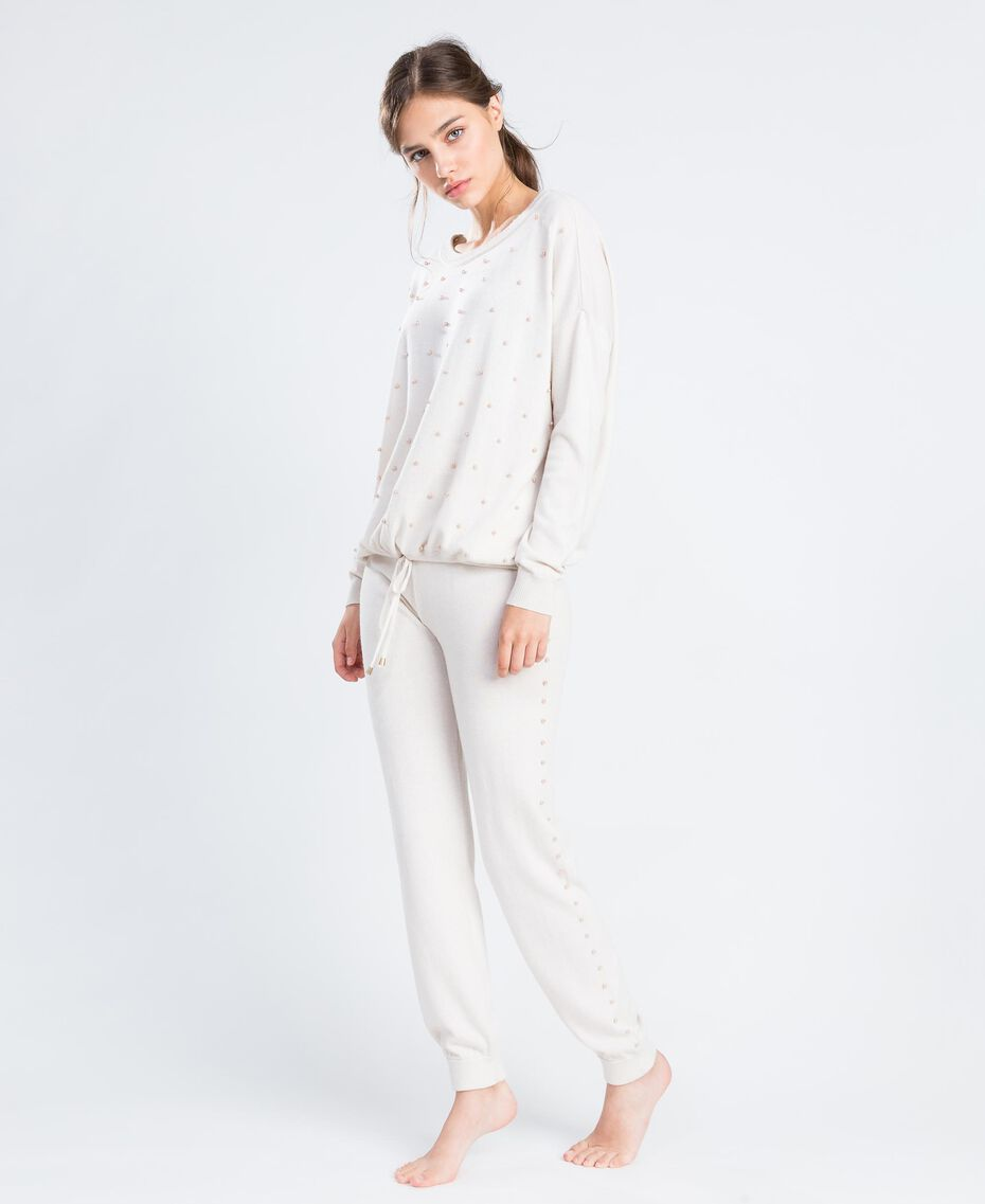 Wool blend jumper with pearls Blanc Woman IA8AKK-02
