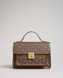 Printed faux leather shoulder bag Dark Gold Butterfly Print Woman 192TO801K-01