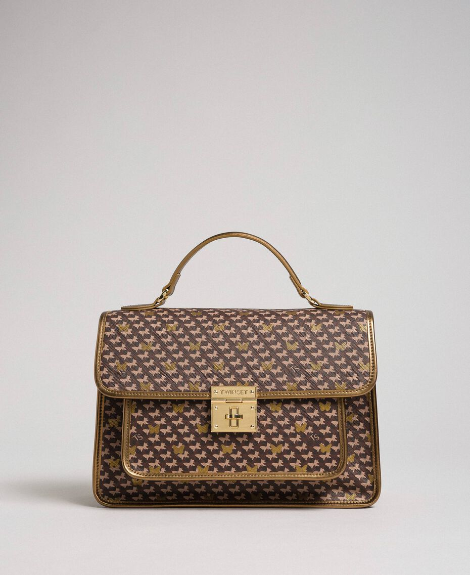 Borsa a tracolla in similpelle stampata Stampa Butterfly Oro Scuro Donna 192TO801K-01