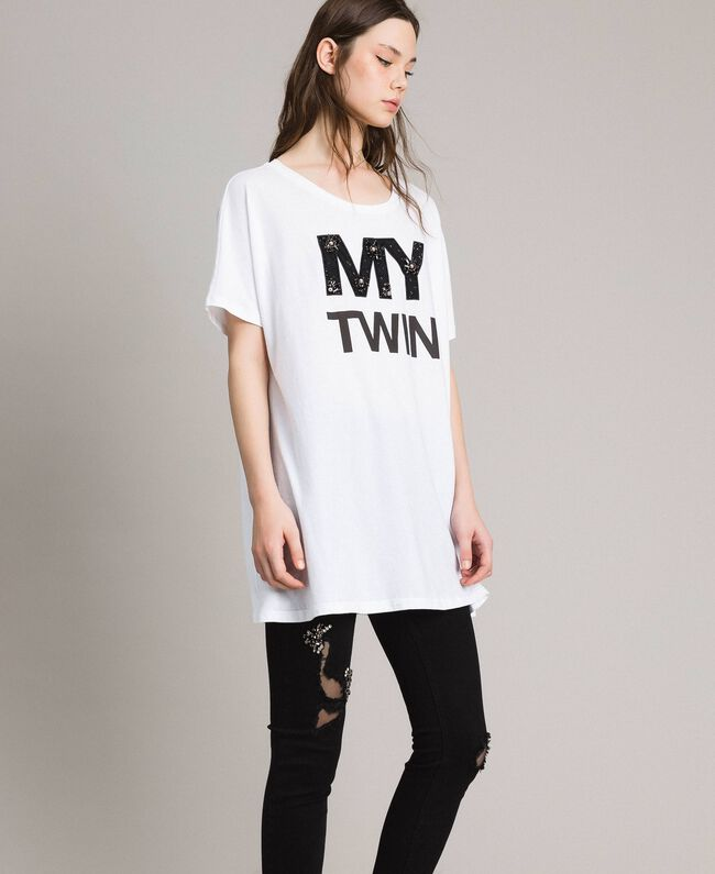 c52bb2802 Maxi T-shirt with logo and embroidery Woman, White   TWINSET Milano