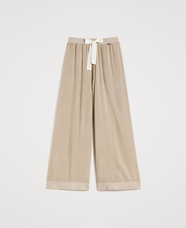 """Pantalon palazzo en viscose Gris """"Poussière Grise"""" Femme 191LL35SS-0S"""