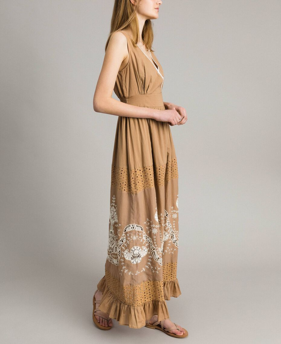 "Voile long dress with broderie anglaise embroidery Two-tone ""Savannah"" Beige / Ecru Woman 191ST2114-01"