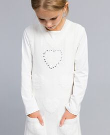 Long knitted gilet with hearts Off White Child GA83DA-04