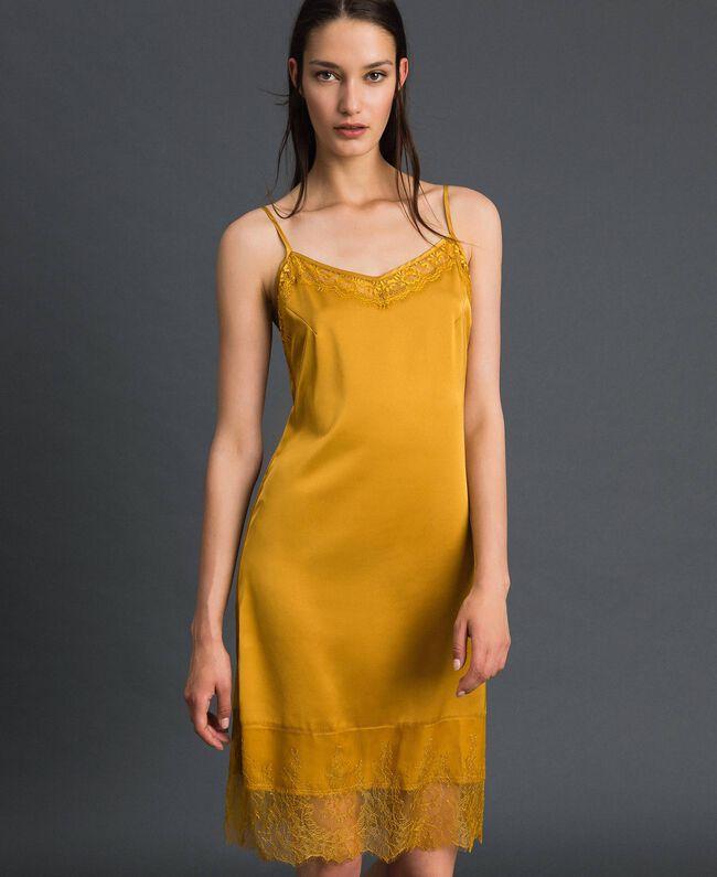 Robe nuisette en satin et dentelle Jaune Safran Femme 192MP2132-01