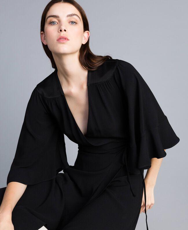 Envers satin mid-length dress Black Woman TA824B-01