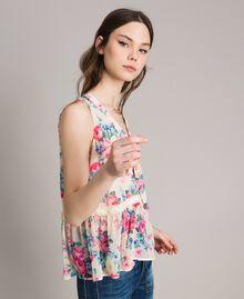 Georgette-Top mit Schleife und Volant Motiv Tuch Weiße Blumen Frau 191MP2332-02