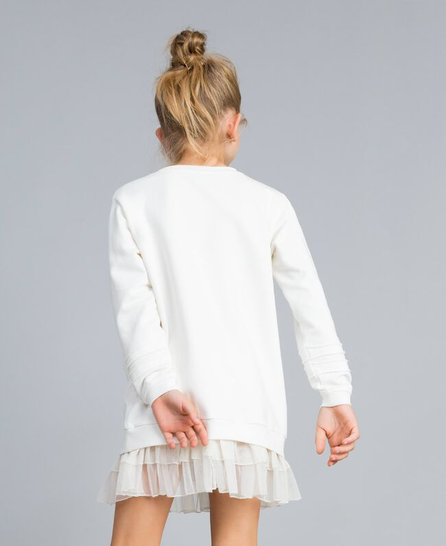 Maxi sweat en viscose avec perles et tulle Off White Enfant GA82U1-03