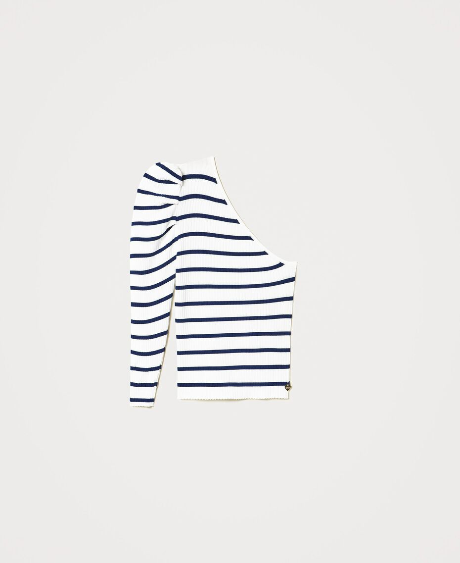 Einschultriger Pullover mit Streifen Zweifarbig Schneeweiß / Dunkles Nautical Blue Frau 211TT3212-0S