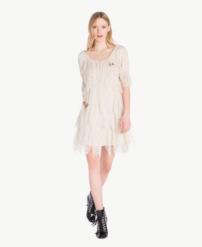 Kleid mit Spitze Calla-Weiß Frau PS826A-01