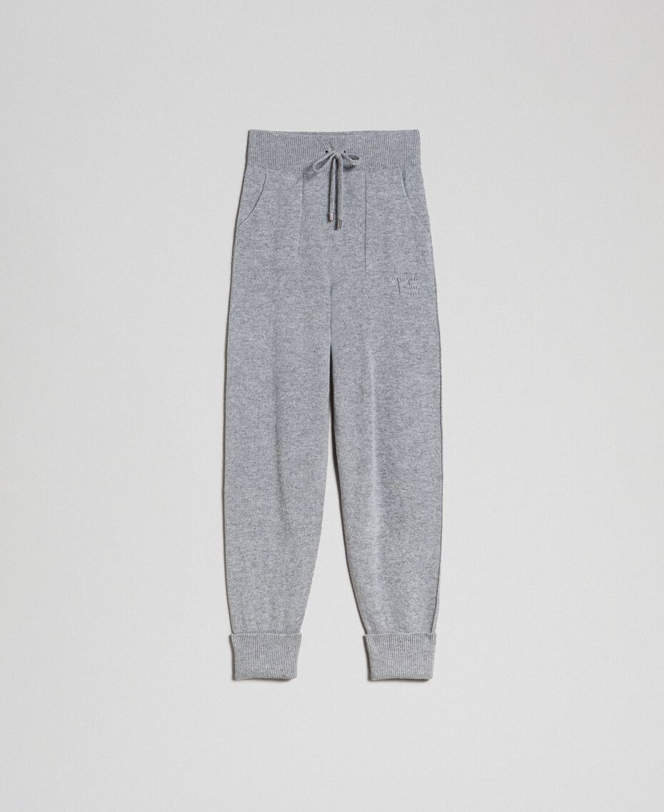 Wool and cashmere jogging trousers Melange Grey Woman 192TT3024-0S