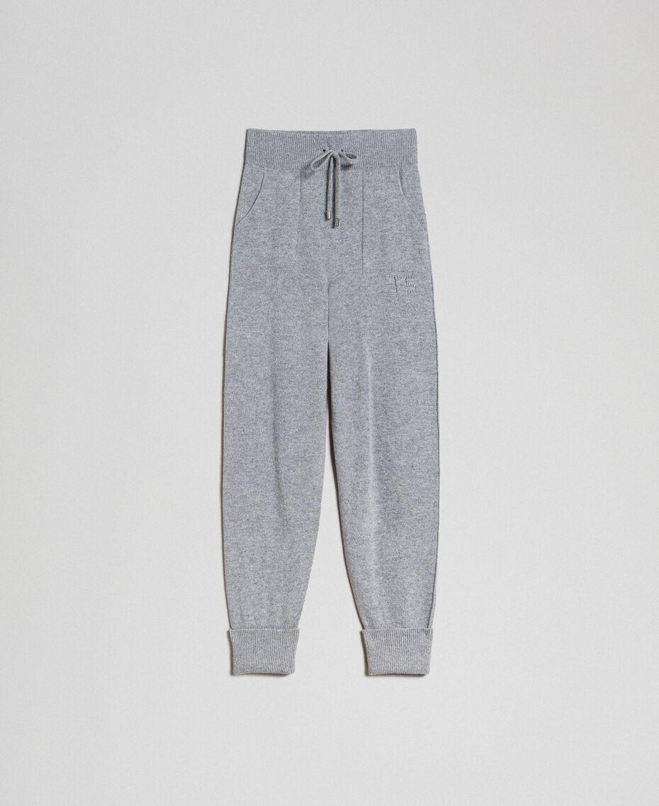 Pantalon de jogging en laine et cachemire Gris Mélangé Femme 192TT3024-0S