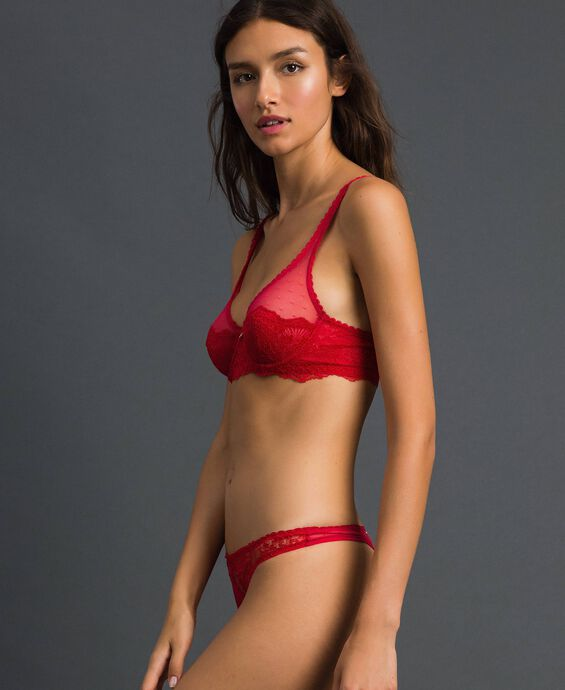 Underwire lace and tulle bra