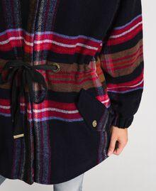 Parka en drap de laine mélangée à carreaux Carreaux Bleu Denim Femme 192MT2251-06