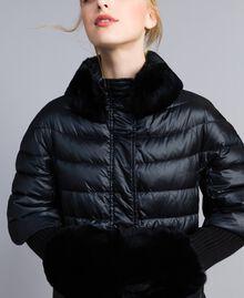 Long shiny nylon padded jacket Black Woman TA82C1-04