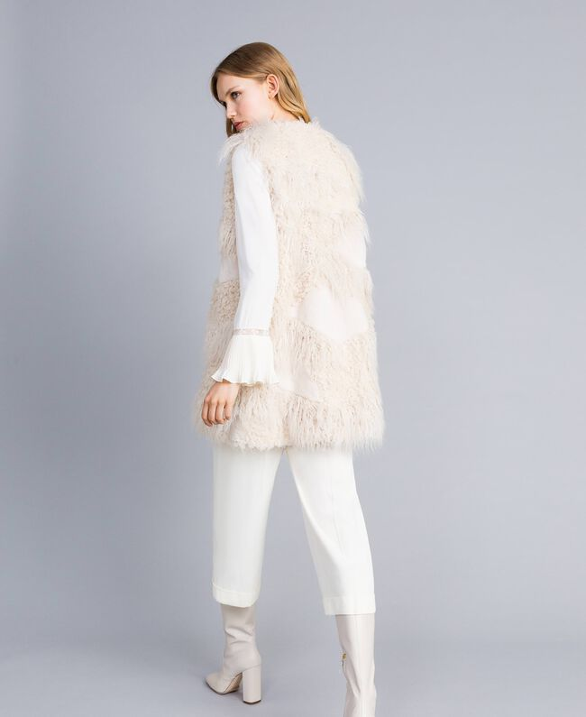 Long faux fur patch waistcoat White Snow Woman TA82A2-03