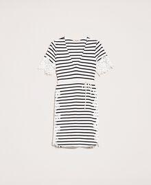 Robe à rayures avec dentelle macramé Rayure Blanc Neige/ Noir Femme 201TP2472-0S