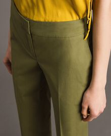 "Poplin drainpipe trousers ""Olive"" Green Woman 191TT2231-05"