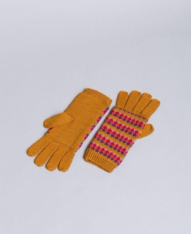 Multi-coloured jacquard gloves Camel Jacquard Stripe Woman OA8T68-01