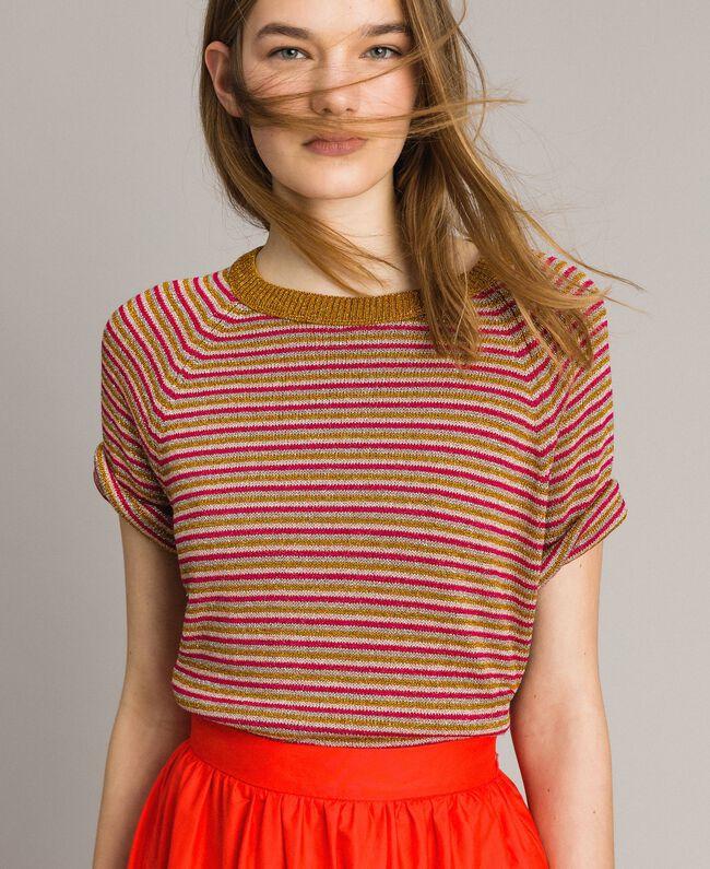 Pull rayé en lurex Rayures Multicolore Lurex Rose Femme 191TT3120-01