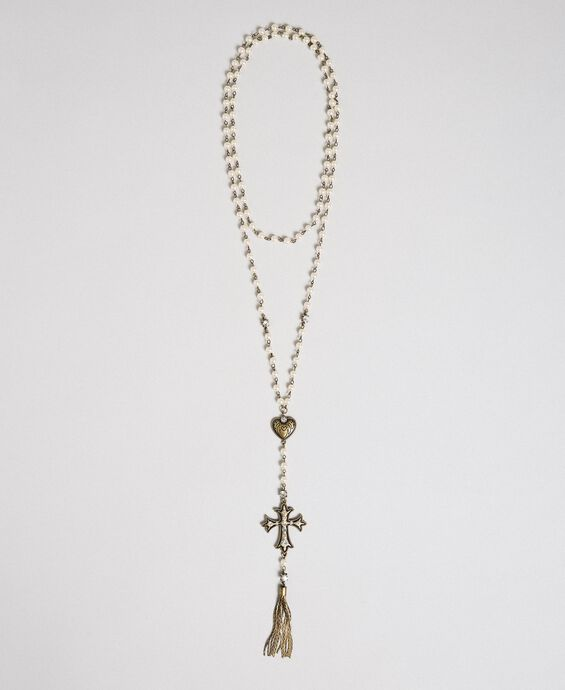 Rosary necklace with heart, cross and tassel