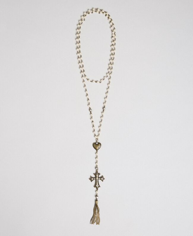Rosary necklace with heart, cross and tassel White Snow Woman 192TO530A-01