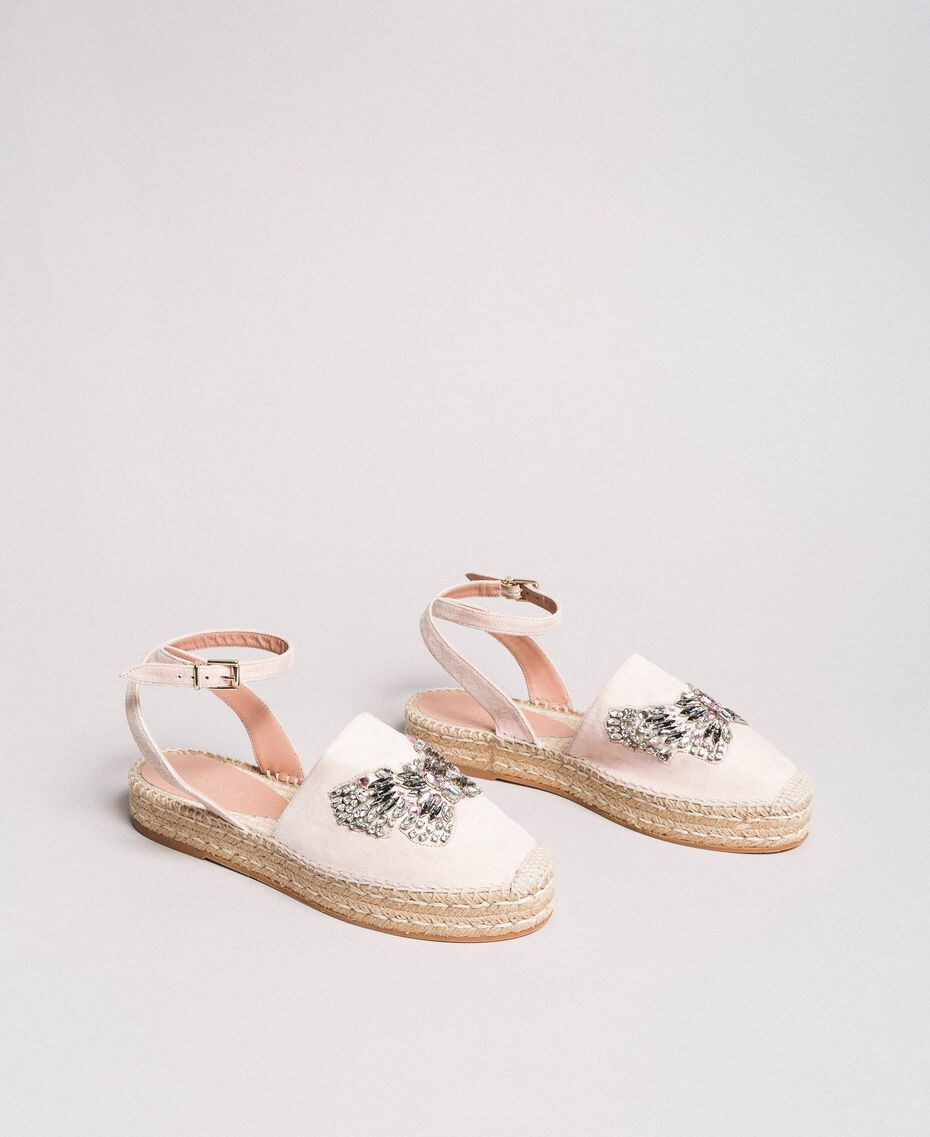 Leather espadrilles with jewelry butterfly Bud Pink Woman 191TCP10A-02