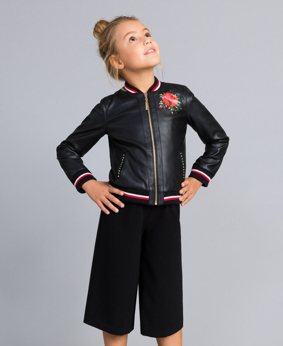 Jacke aus Lederimitat mit Stickereien Zweifarbig Schwarz / Mohnrot Kind GA82B1-0S