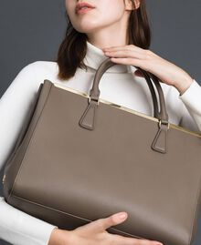 Faux leather shopping bag with logo Taupe Beige Woman 192TO8050-0S