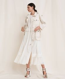 "Canvas jacket with broderie anglaise ""Dune"" Beige Woman 201TP2011-0T"