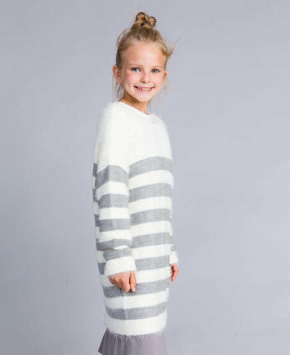 """Maxi maglia in misto lana a righe Bicolor Off White / Grigio """"Grey Stone"""" Bambina GA83E1-02"""