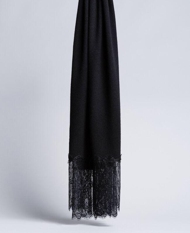Schal aus Kaschmir und Spitze Schwarz Frau OA8T1H-01
