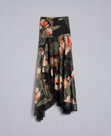 Chiffon long skirt with floral print Maxi Black Tulip Print Woman TA825V-0S