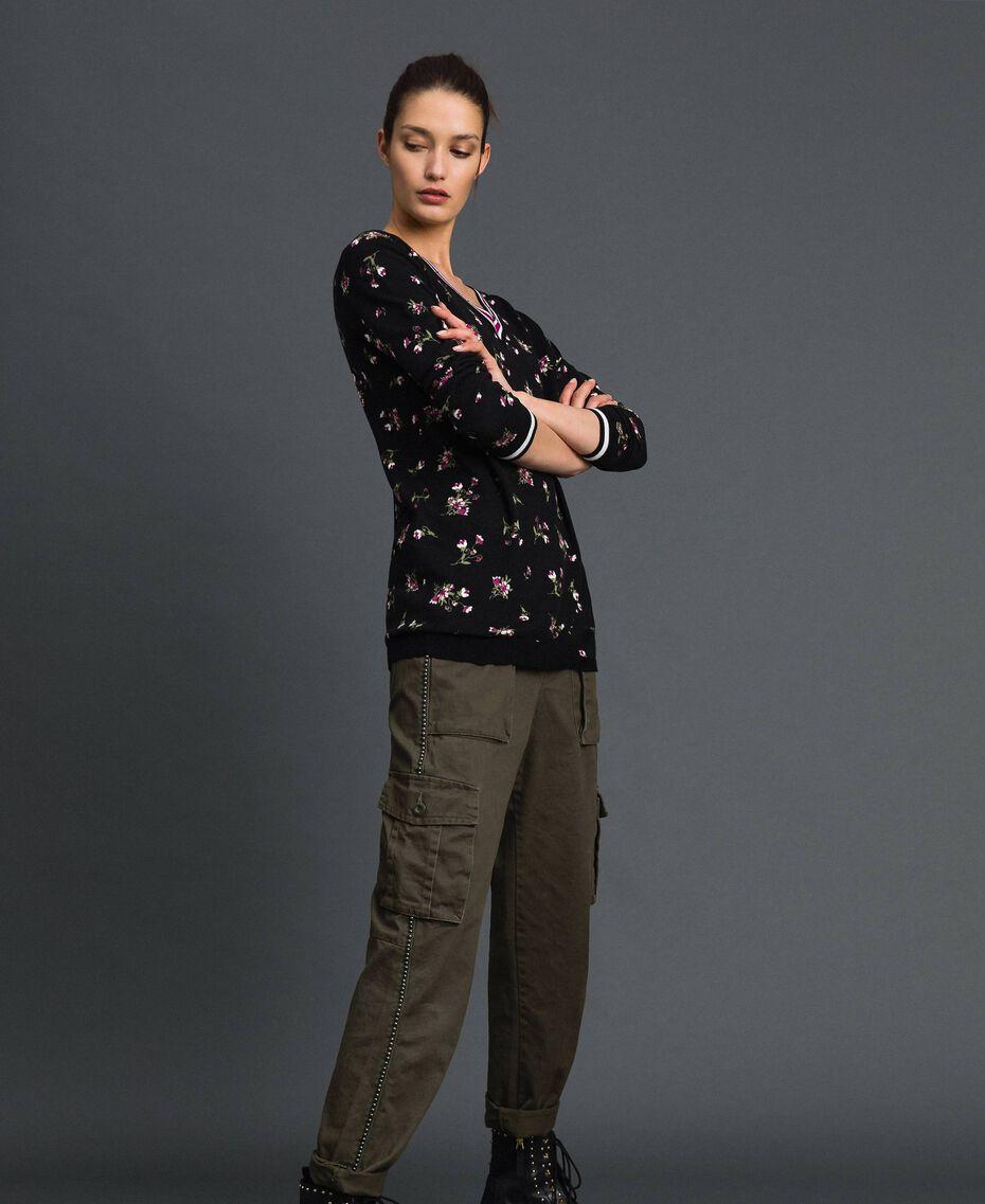 Maxi pull-cardigan floral avec strass Imprimé Petite Fleur Noir Femme 192LL3KSS-02