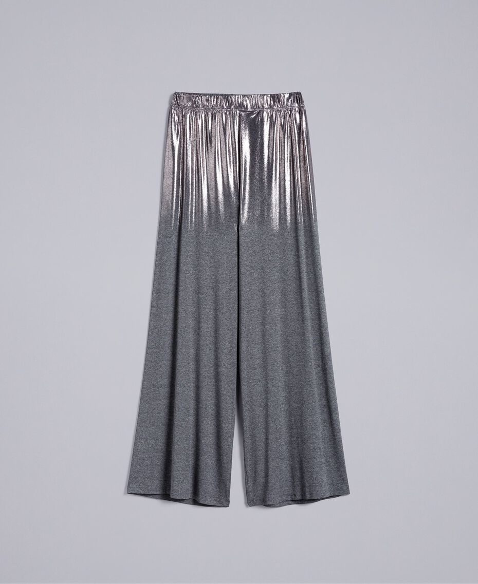 Jersey palazzo trousers Medium Gray Mélange Woman IA81KK-0S