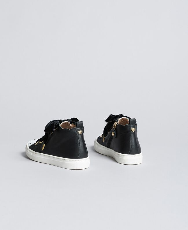 Leather scalloped sneakers Black Child HA88CC-03