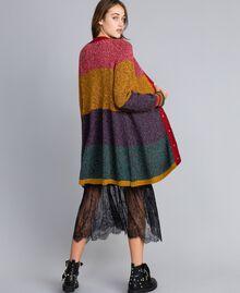 Maxicardigan aus Moulinégarn in Color-Block-Verarbeitung Mehrfarbiger Mouliné Frau YA831A-03