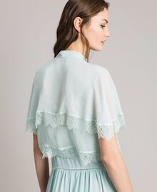 Georgette and lace shrug Acquamarine Woman 191TP2373-04
