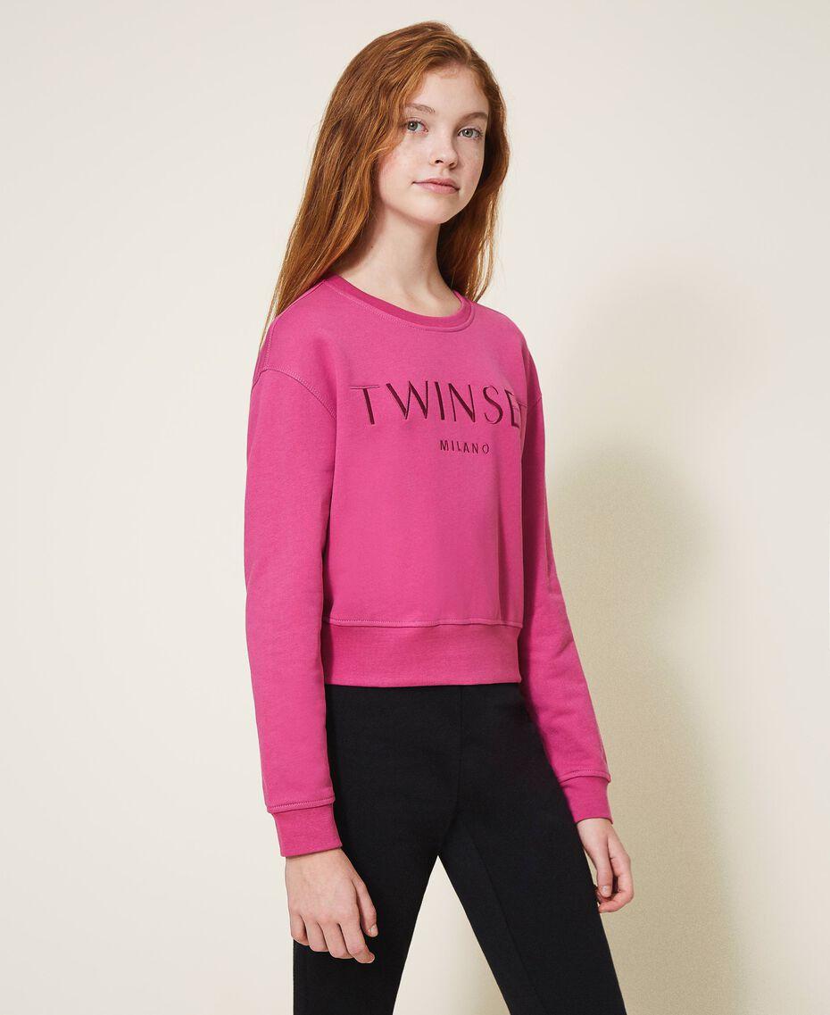 Sweatshirt with logo embroidery Dark Fuchsia Child 202GJ283A-02