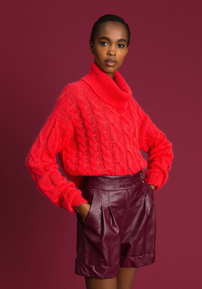 Cable knit mohair jumper