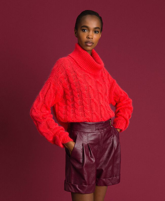 Cable knit mohair jumper Coral Pink Woman 192TT3271-01
