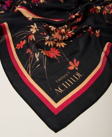 Kefiah con stampa floreale e logo Stampa Wild Flowers Nero Donna 212AA406A-02