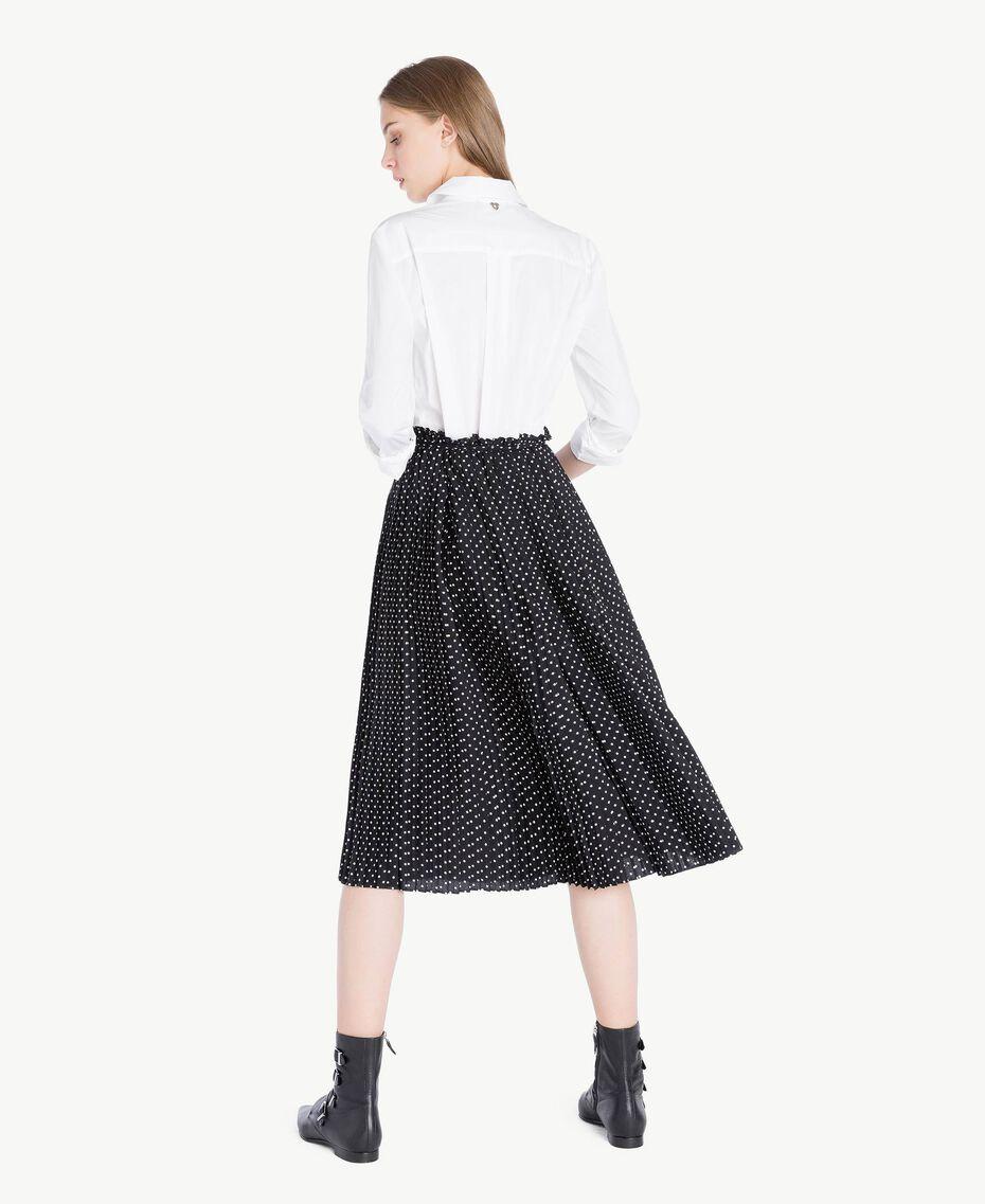 Robe chemisier Bicolore Blanc Optique / Pois Noir Femme PS82L1-03