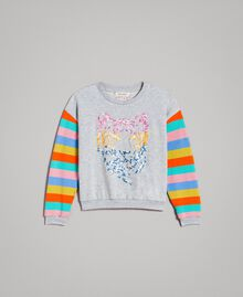 Cotton knitted striped sweatshirt Melange Grey / Multicolour Striping Child 191GJ2451-01