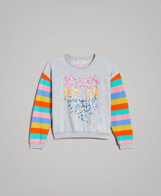 Sweat shirt à rayures en maille de coton
