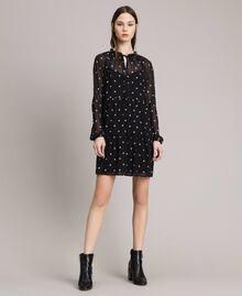 Kleid aus Georgette mit Tupfen und Volants Motiv Herz Polka Dot Schwarz / Weiß Frau 191MP2336-05