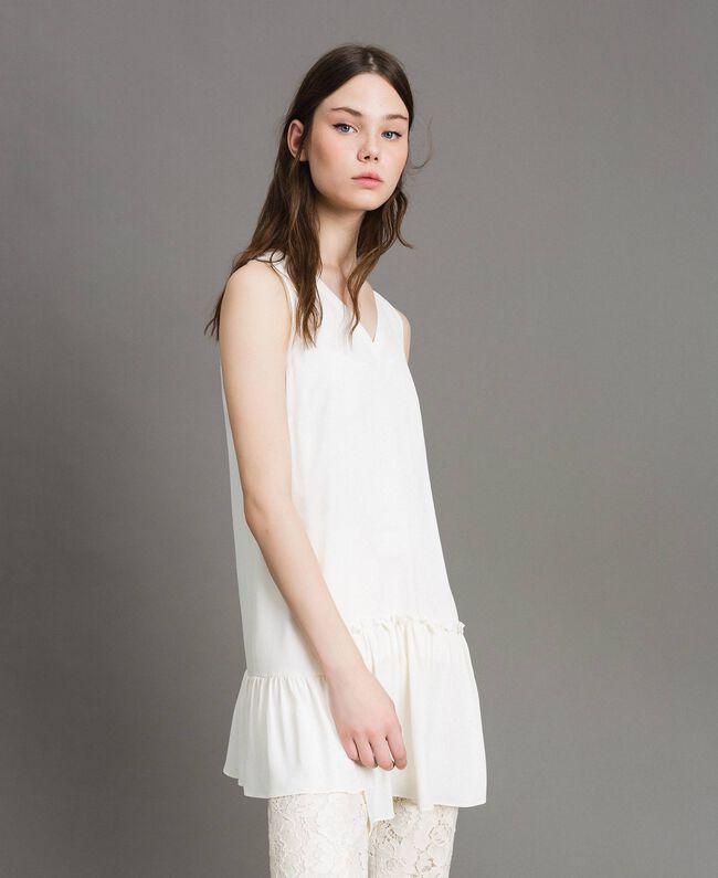 """Minirobe en soie mélangée avec volant Blanc """"Soie"""" Femme 191TP2460-01"""