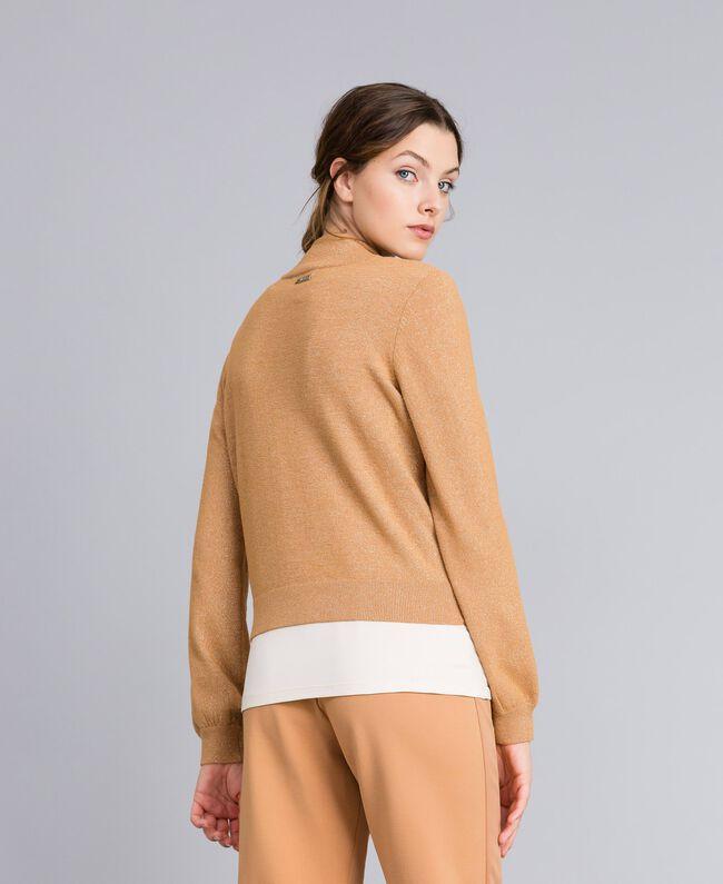 """Lurex yarn cardigan """"Amber Dust"""" Brown Woman IA82HH-04"""