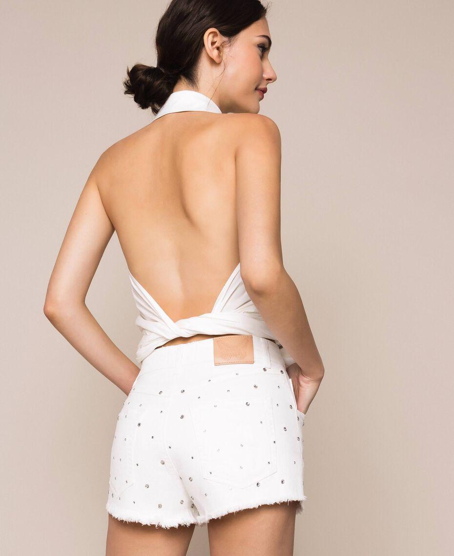 Short strassé Blanc Neige Femme 201TP2131-03