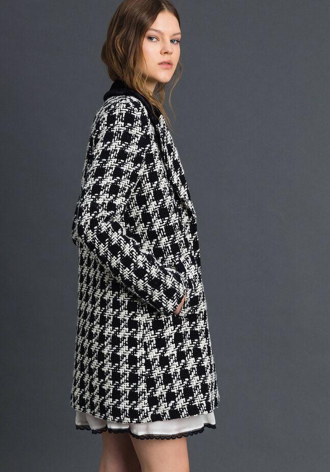 Mantel aus Bouclé mit Hahnentrittmuster