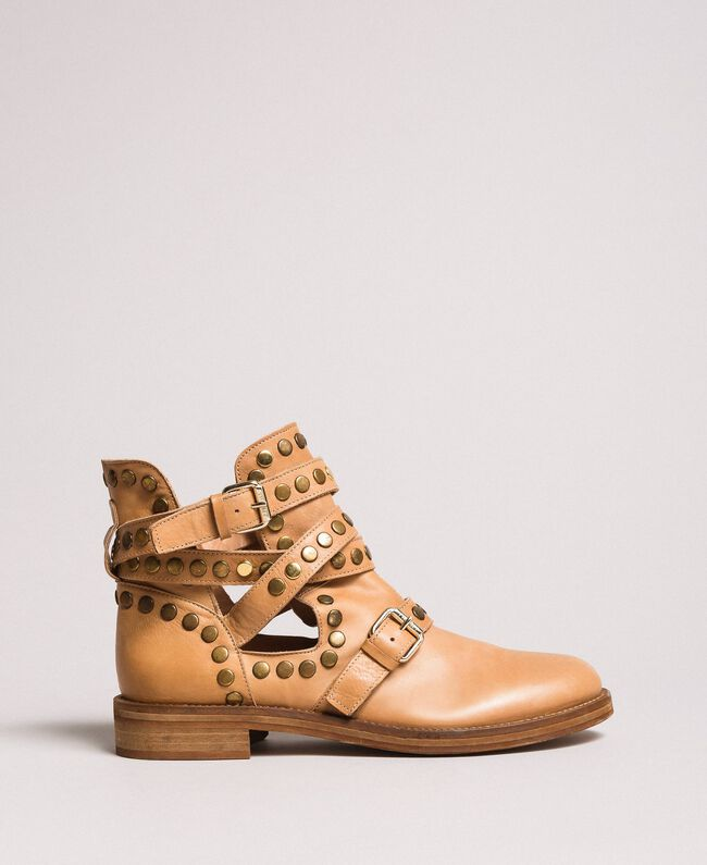 627137034dd Leather biker boots with straps and studs Woman, Beige | TWINSET Milano